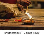 Stock photo incense flowers and light at the aarti celebrations of light on the river ganges is a hindu 758054539