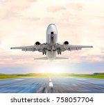 passenger airplane landing and... | Shutterstock . vector #758057704