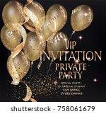 vip private party invitation... | Shutterstock .eps vector #758061679