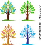 set of abstract seasonal trees | Shutterstock .eps vector #75806170