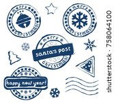 collection of christmas postage ... | Shutterstock .eps vector #758064100