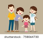cute family visiting the doctor.... | Shutterstock .eps vector #758064730