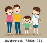 cute family visiting the doctor.... | Shutterstock .eps vector #758064736