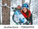 happy friends snowboarder... | Shutterstock . vector #758064994