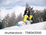 smiling girl snowboarder in... | Shutterstock . vector #758065000