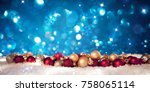 christmas banner with ... | Shutterstock . vector #758065114