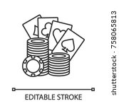 casino chips stack with playing ... | Shutterstock .eps vector #758065813