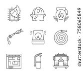 firefighting linear icons set.... | Shutterstock .eps vector #758065849