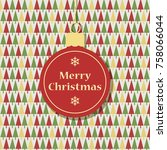 retro christmas greeting card... | Shutterstock .eps vector #758066044