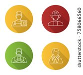 professions flat linear long... | Shutterstock .eps vector #758066560