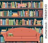 interior room home library.... | Shutterstock .eps vector #758069143