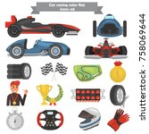formula one color flat icons set | Shutterstock .eps vector #758069644