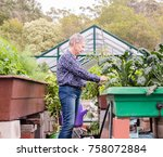 older woman with short grey... | Shutterstock . vector #758072884