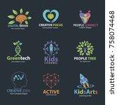 logo set for idea  kids  family ...   Shutterstock .eps vector #758074468