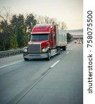 18 wheeler semi truck on road   Shutterstock . vector #758075500