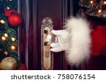 santa claus gloved hands open... | Shutterstock . vector #758076154