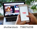 Small photo of CHIANGMAI,THAILAND - NOV 20,2017 : A hand holding Apple iPhone 6 plus with shows icon TED talk application,TED talk is a popular application video icon talking about for people.