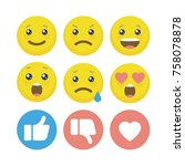funny emoticon set. user... | Shutterstock .eps vector #758078878