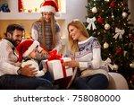cute little boy receiving... | Shutterstock . vector #758080000
