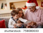 grandpa with grandchildren... | Shutterstock . vector #758080033