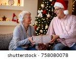 lovely smiling senior couple... | Shutterstock . vector #758080078