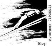 winter sport. ski jumping.... | Shutterstock .eps vector #758080138