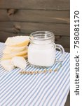bread and a glass of milk on... | Shutterstock . vector #758081170