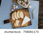 bread  cheese and a glass of... | Shutterstock . vector #758081173
