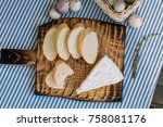bread  cheese and a glass of... | Shutterstock . vector #758081176