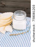 bread and a glass of milk on... | Shutterstock . vector #758081203