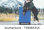 traveling woman wearing poncho... | Shutterstock . vector #758084314