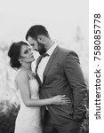beautiful bride and groom in... | Shutterstock . vector #758085778