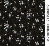 seamless ditsy floral pattern | Shutterstock .eps vector #758086840