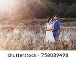 beautiful bride and groom in... | Shutterstock . vector #758089498