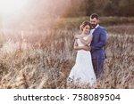 beautiful bride and groom in... | Shutterstock . vector #758089504