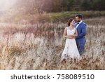 beautiful bride and groom in... | Shutterstock . vector #758089510