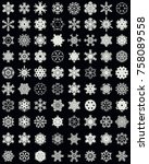 set of different snowflakes on... | Shutterstock .eps vector #758089558