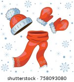 winter warm clothes hat ... | Shutterstock .eps vector #758093080