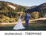 beautiful bride and groom... | Shutterstock . vector #758094460