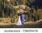 beautiful bride and groom... | Shutterstock . vector #758094478