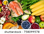 background healthy food for...   Shutterstock . vector #758099578