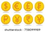 vector set of world currency...   Shutterstock .eps vector #758099989