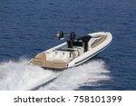 luxury motor boat  aerial view... | Shutterstock . vector #758101399