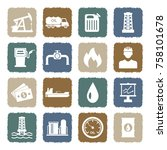 oil icons. grunge color flat... | Shutterstock .eps vector #758101678