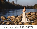 beautiful bride portrait ... | Shutterstock . vector #758103874