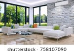 modern bright room with air... | Shutterstock . vector #758107090