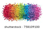 pile of colorful rainbow toy... | Shutterstock . vector #758109100