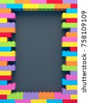 frame of stacked colorful toy... | Shutterstock . vector #758109109