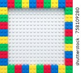 frame of colorful toy bricks on ... | Shutterstock . vector #758109280