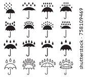 Umbrella And Rain Drops Icons....